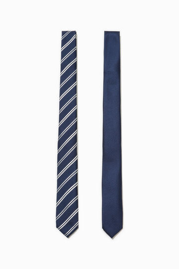 Two-pack ties striped and solid colour