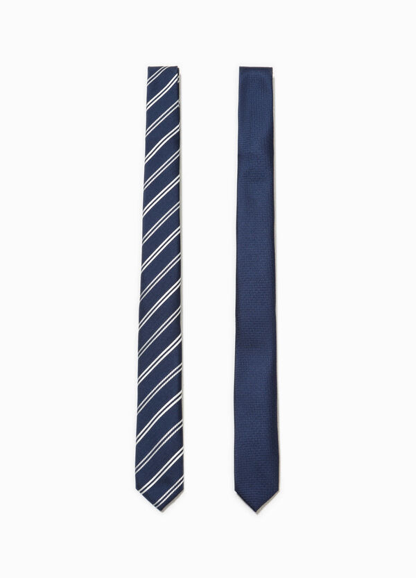 Two-pack ties striped and solid colour | OVS