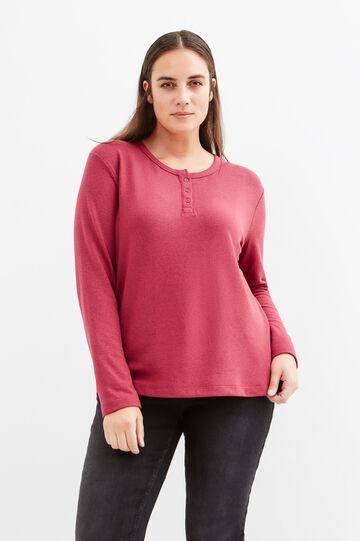 Curvy long-sleeved stretch T-shirt, Light Red, hi-res