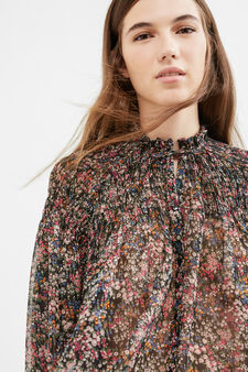 Blusa con stampa floreale all-over, Nero, hi-res