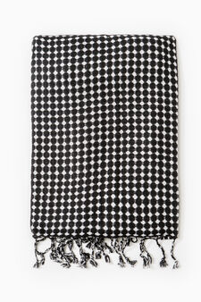 100% viscose patterned scarf, Black/White, hi-res