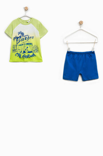 Two-tone top and shorts pyjama set