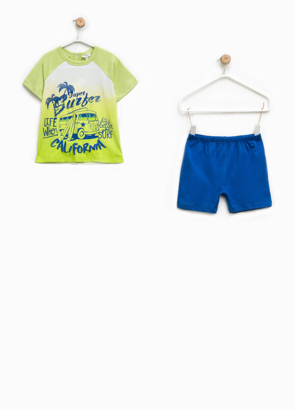 Two-tone top and shorts pyjama set | OVS