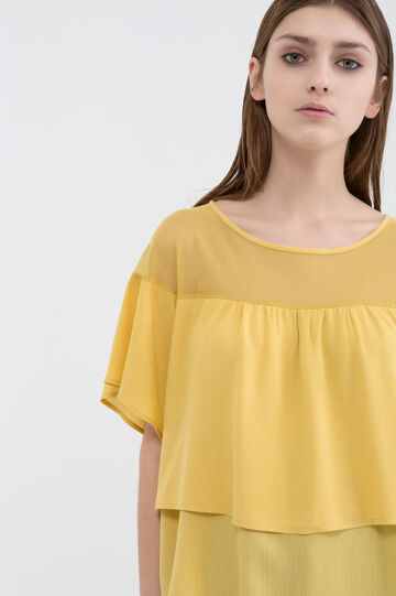 Blouse in cotton and viscose blend, Ochre Yellow, hi-res