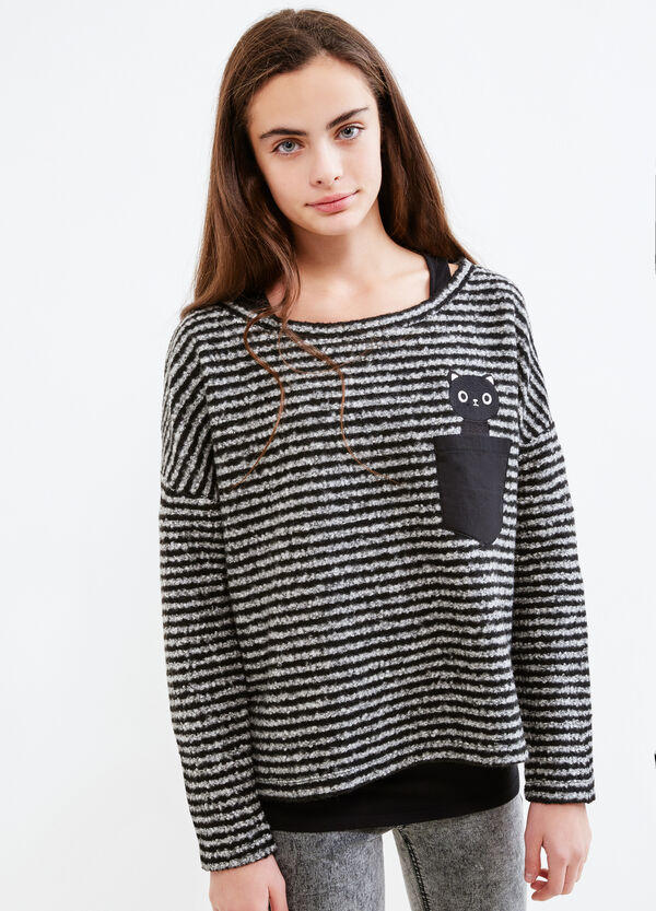 Teen striped pullover with cat patch | OVS