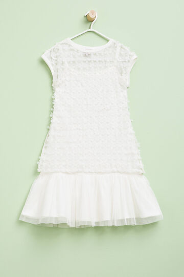Dress with flowers and tulle skirt, Cream White, hi-res