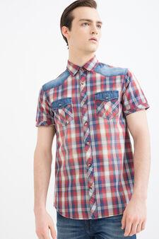 G&H tartan shirt in 100% cotton, Blue/Red, hi-res