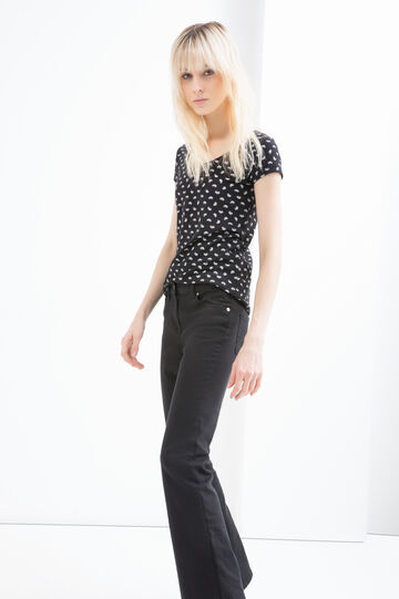 Printed stretch cotton T-shirt, Black, hi-res