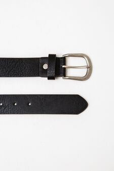 Solid colour belt with shiny buckle, Black, hi-res