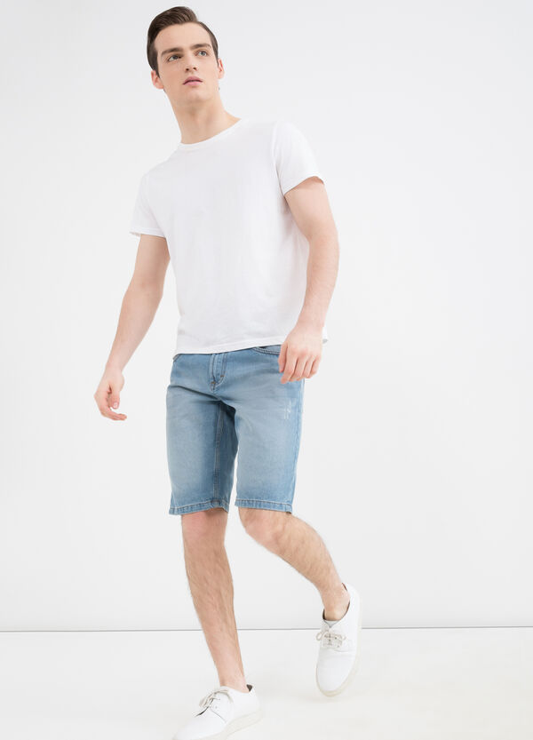 Straight fit denim shorts with abrasions | OVS