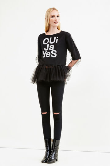 Sweatshirt with frills and tulle, Black, hi-res