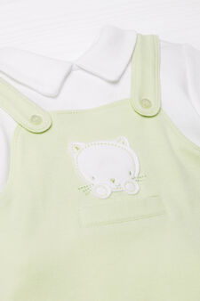 100% cotton onesie with feet, Green, hi-res