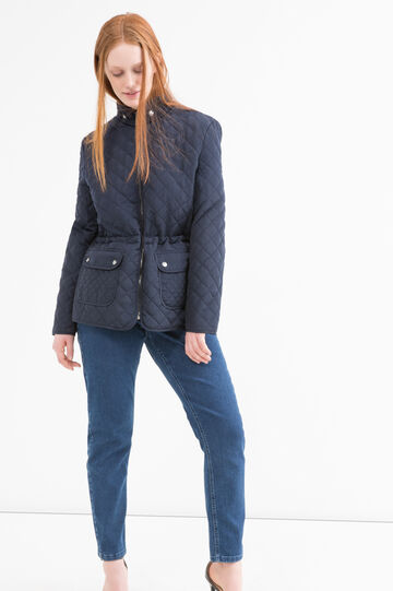 Solid colour quilted Curvy jacket, Navy Blue, hi-res