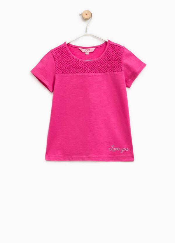 T-shirt in cotone con pizzo e strass | OVS