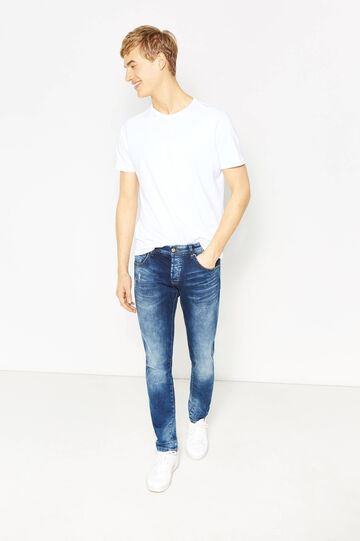 Worn-effect, slim-fit stretch jeans with whiskering, Denim, hi-res