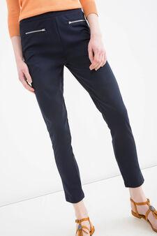 Solid colour viscose blend leggings., Navy Blue, hi-res