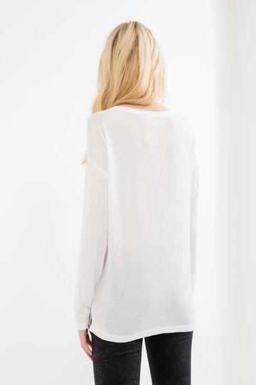 Stretch viscose T-shirt with long sleeves, Milky White, hi-res