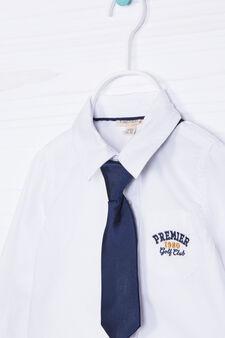 Camicia cotone con cravattino, Bianco, hi-res