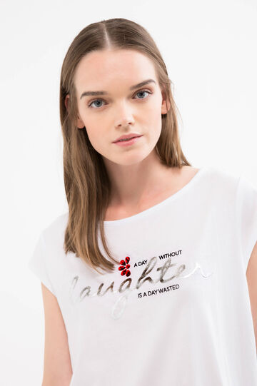 T-shirt with diamantés and print, White, hi-res