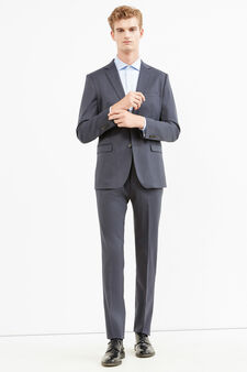 Elegant regular-fit wool and linen suit, Blue, hi-res