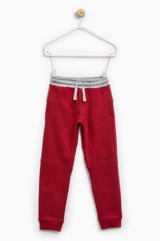 Pantaloni tuta tinta unita cotone, Rosso bordeaux, hi-res