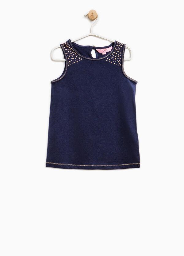 100% cotton vest top with diamanté detail | OVS