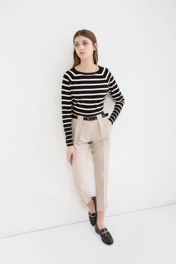 High waist linen blend trousers | OVS