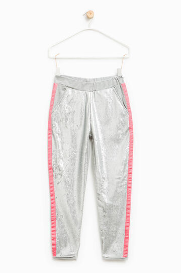 Trousers with turn-ups and sequins, Light Grey, hi-res