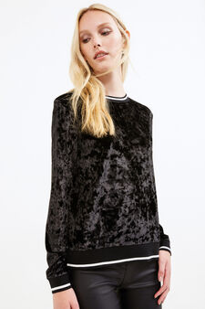 Chenille crew neck sweatshirt, Black, hi-res