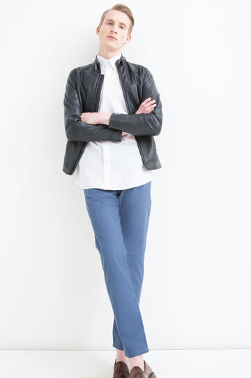 Camicia misto cotone regular fit, Bianco, hi-res