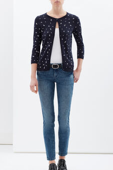 100% cotton paisley cardigan, Navy Blue, hi-res