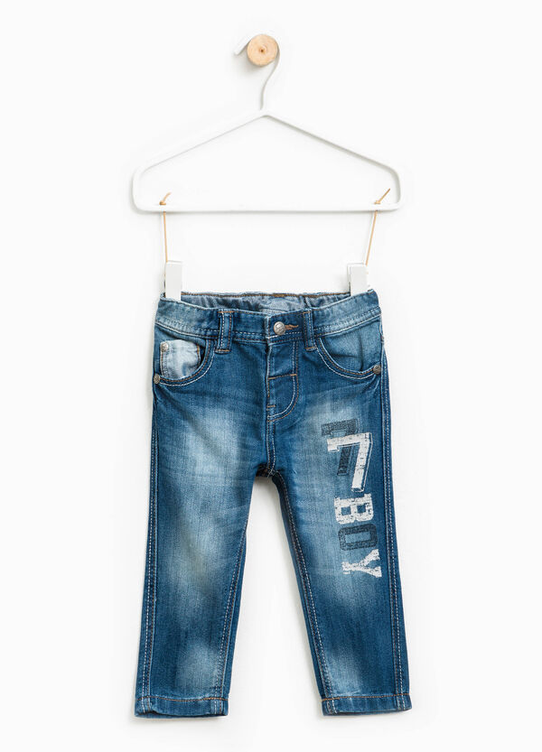 Worn-effect jeans with lettering print | OVS