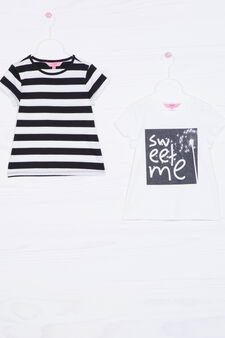 Two-pack 100% cotton T-shirts, White/Black, hi-res