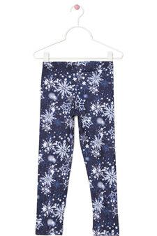 Stretch leggings with winter print, Cream, hi-res