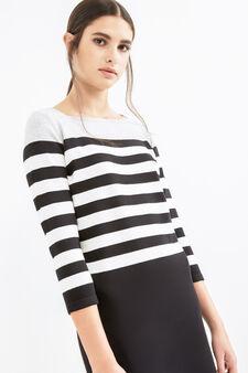 Stretch cotton dress with striped pattern, Black/White, hi-res
