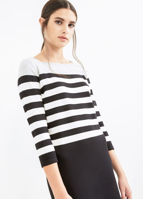 Stretch cotton dress with striped pattern | OVS