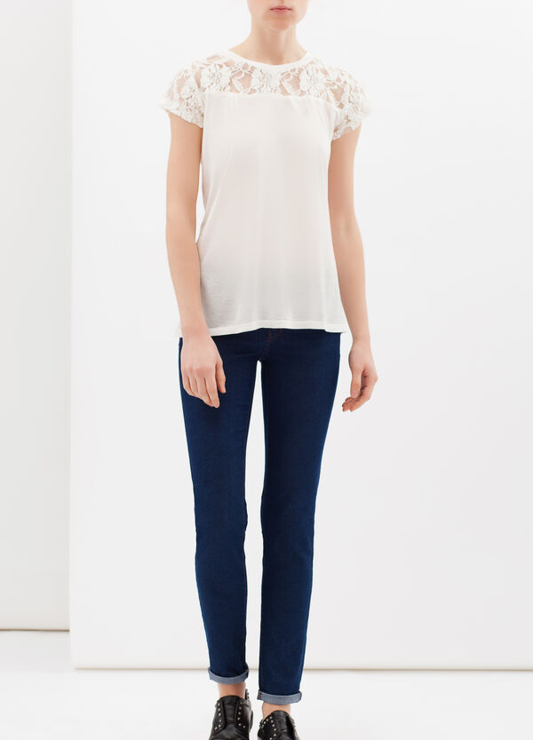100% cotton T-shirt with lace | OVS