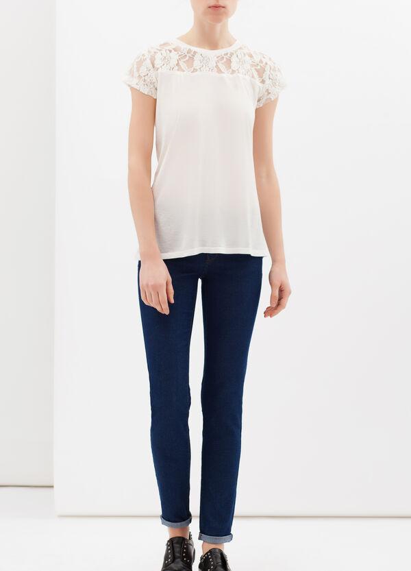 T-shirt puro cotone con pizzo | OVS