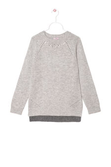 Wool blend knit pullover with diamanté decoration, Grey Marl, hi-res