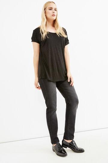 Curvy T-shirt in stretch viscose with diamantés, Black, hi-res