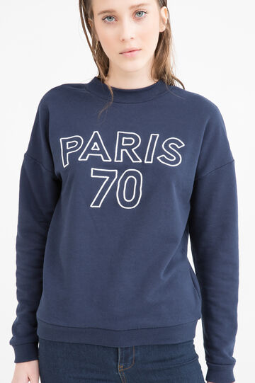 Cotton blend printed sweatshirt, Navy Blue, hi-res