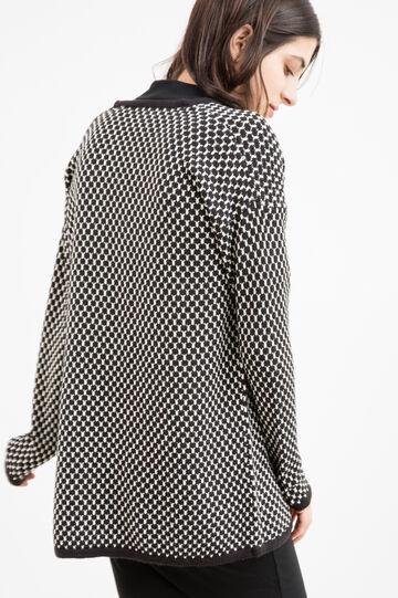 Patterned buttonless cardigan., Black/White, hi-res