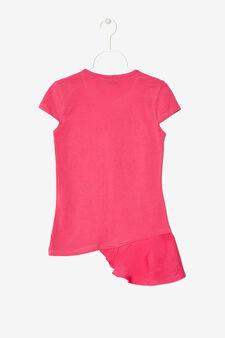 Maglietta asimmetrica strass e paillettes, Rosa fuxia, hi-res