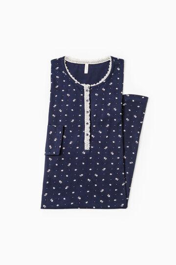 Camicia da notte floreale cotone, Blu navy, hi-res