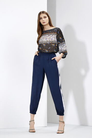 Floral print blouse and high-waist trousers, , hi-res