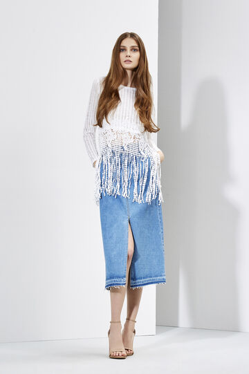 Denim skirt and lace t-shirt, , hi-res