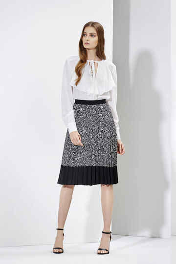 Pleated skirt and blouse with flounces, , hi-res