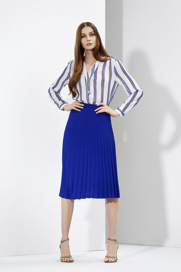 Pleated skirt and striped blouse, , hi-res