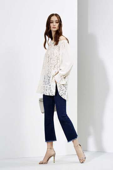 Romantic Mood - lace blouse and jeans, , hi-res