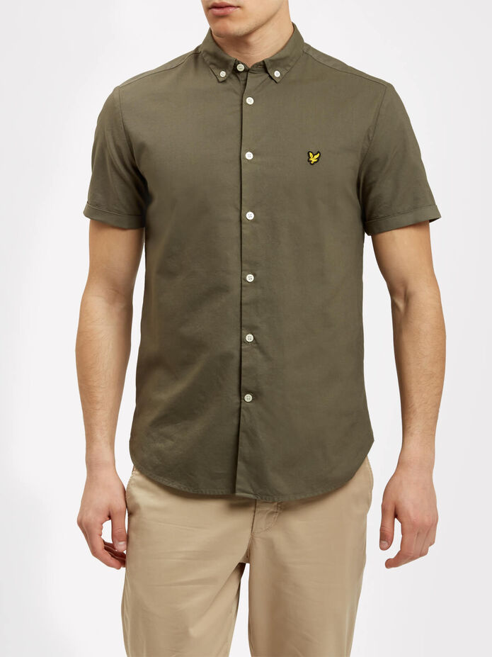 Garment Dye Short Sleeve Oxford Shirt, , hi-res
